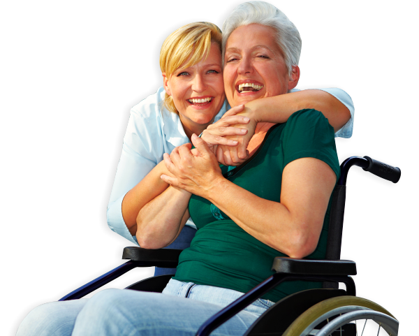 an elderly in a wheelchair with her companion