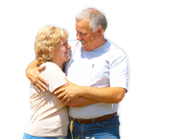 an elderly couple hugging each other