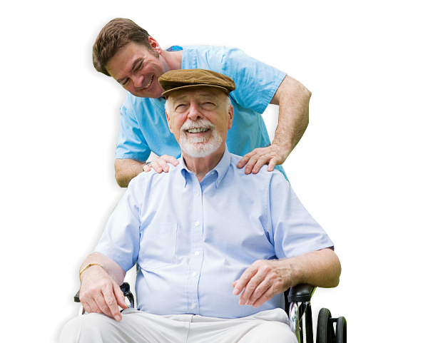 an elderly in a wheelchair with his companion