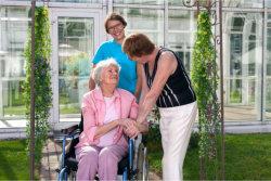elderly in a wheelchair with her companion in a garden
